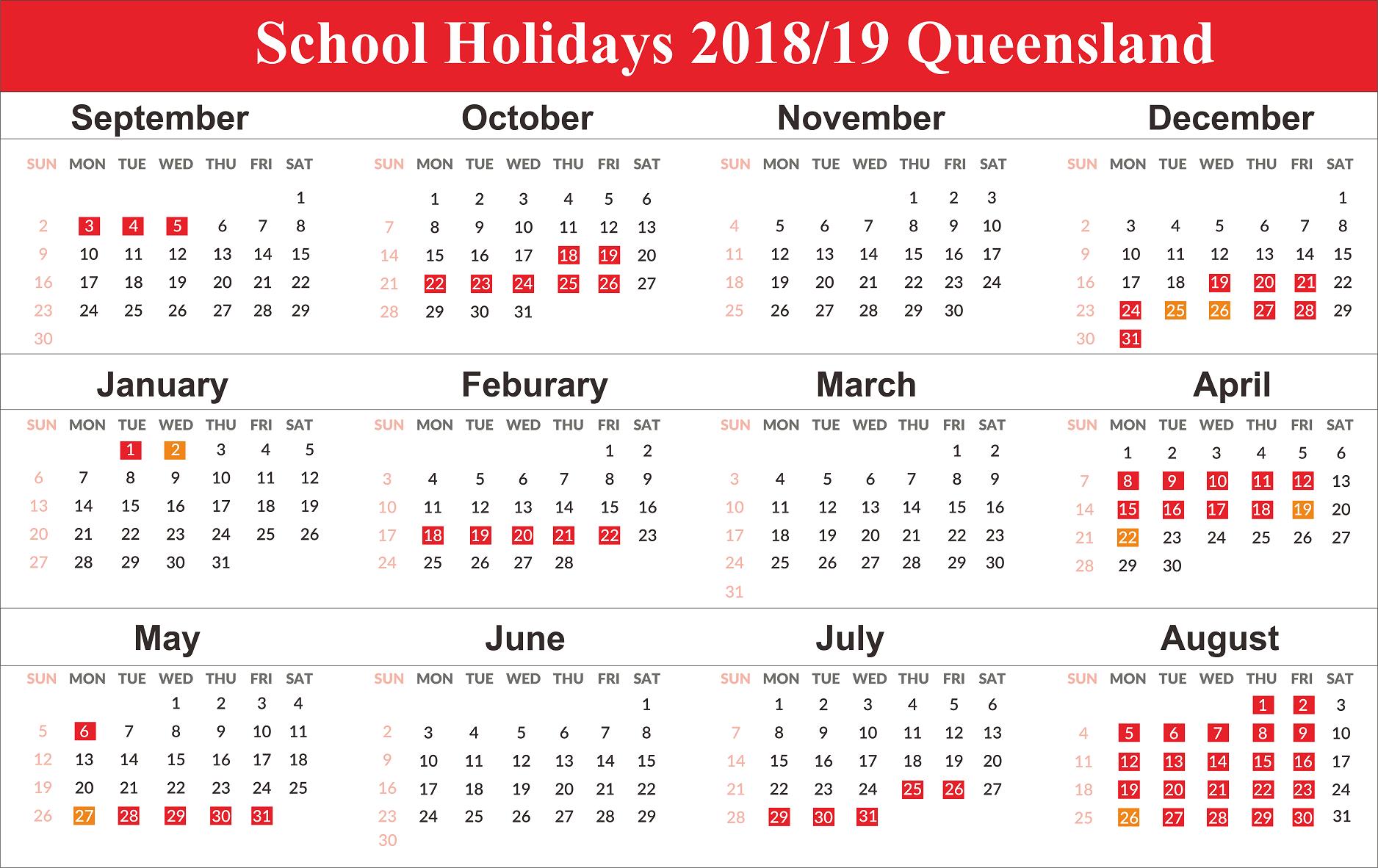 Printable 2019 Calendar With Qld School Holidays   Create