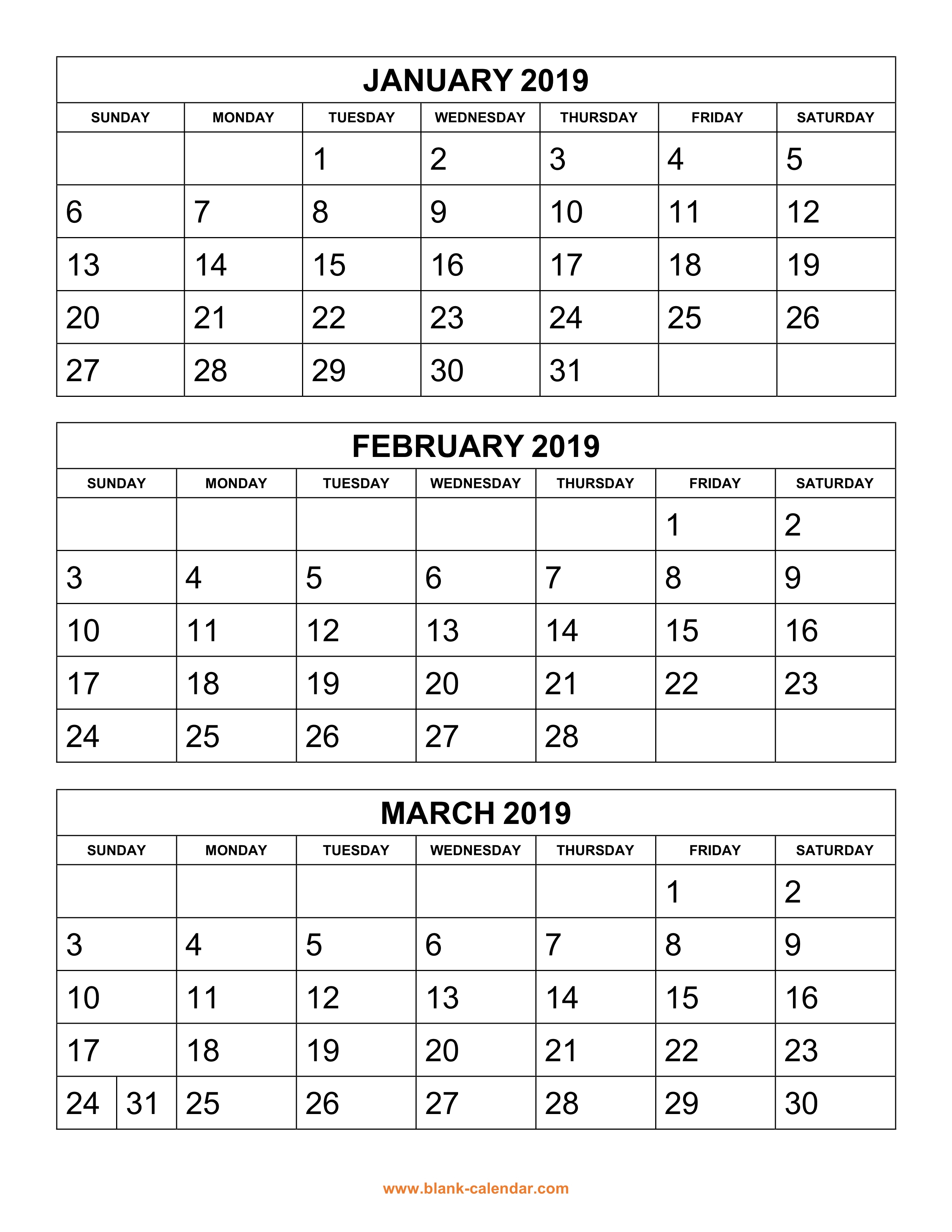 Printable 2019 Calendarmonth Pdf | Printable Calendar 2019