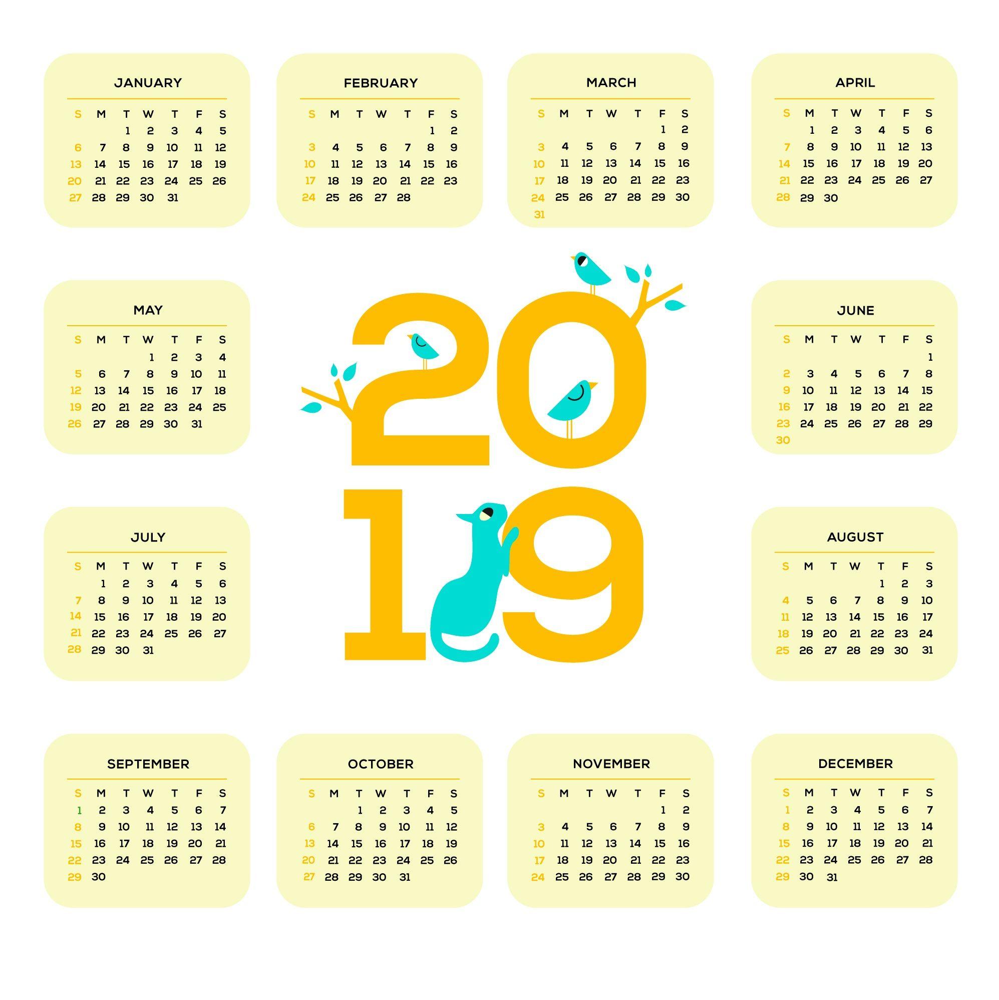 Printable 2019 One Page Calendar | Monthly Calendar