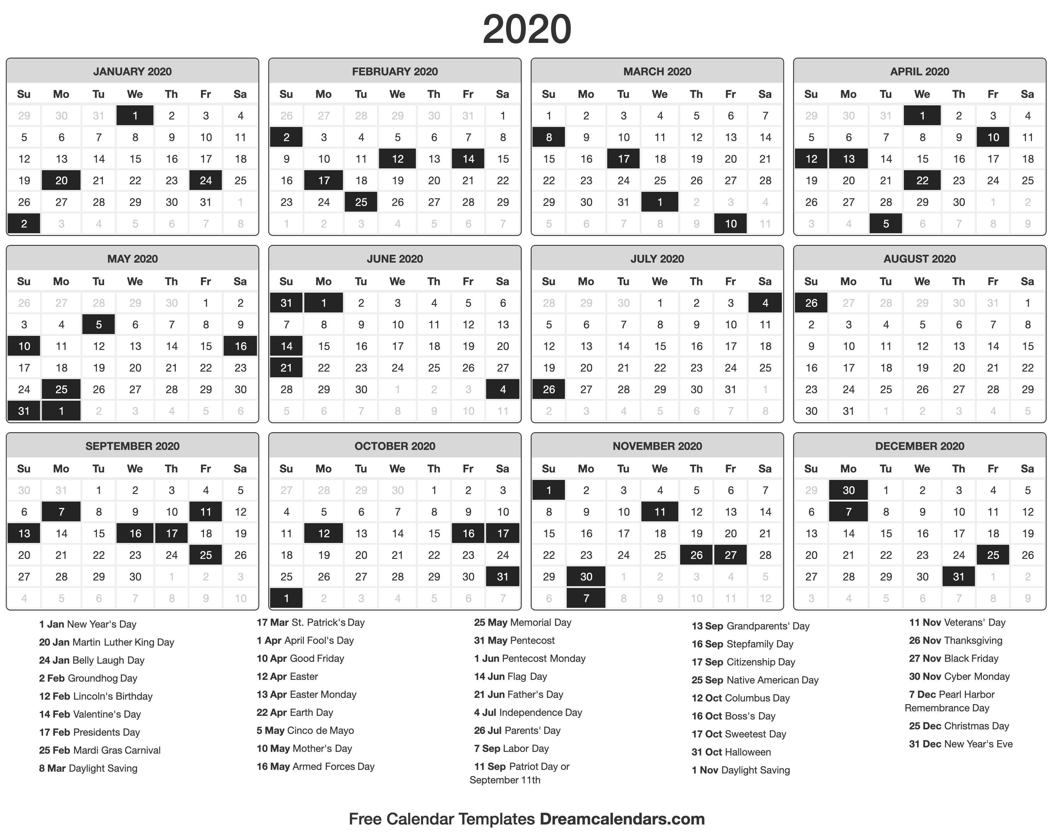 Printable 2020 Calendar - Dream Calendars