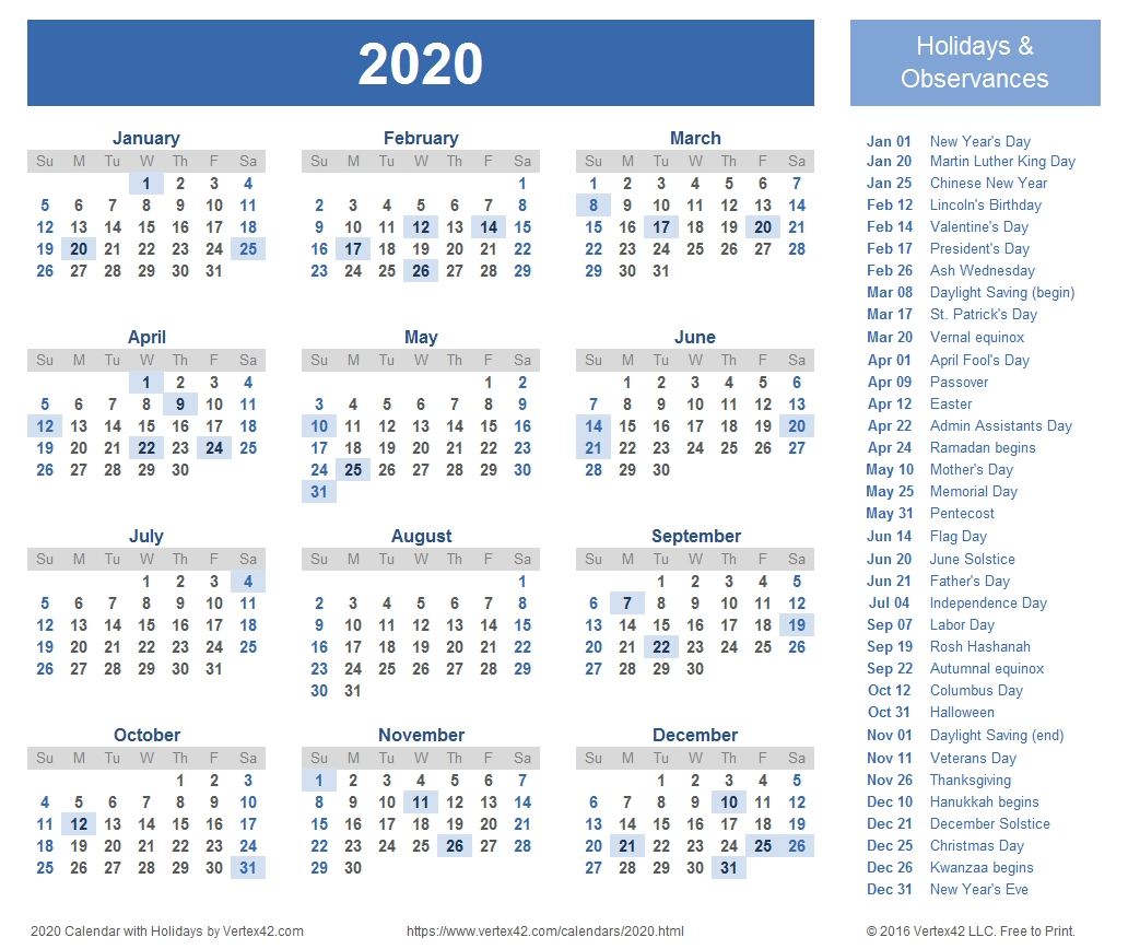 2020 Calendar With National Food Holidays Printable