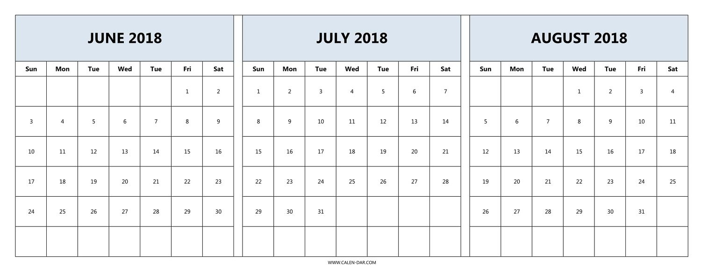 Printable 3 Month Calendar 2018 June July August | Printable