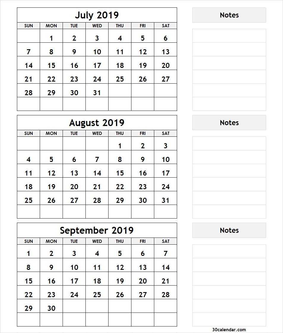Printable 3 Month Calendar July August September 2018