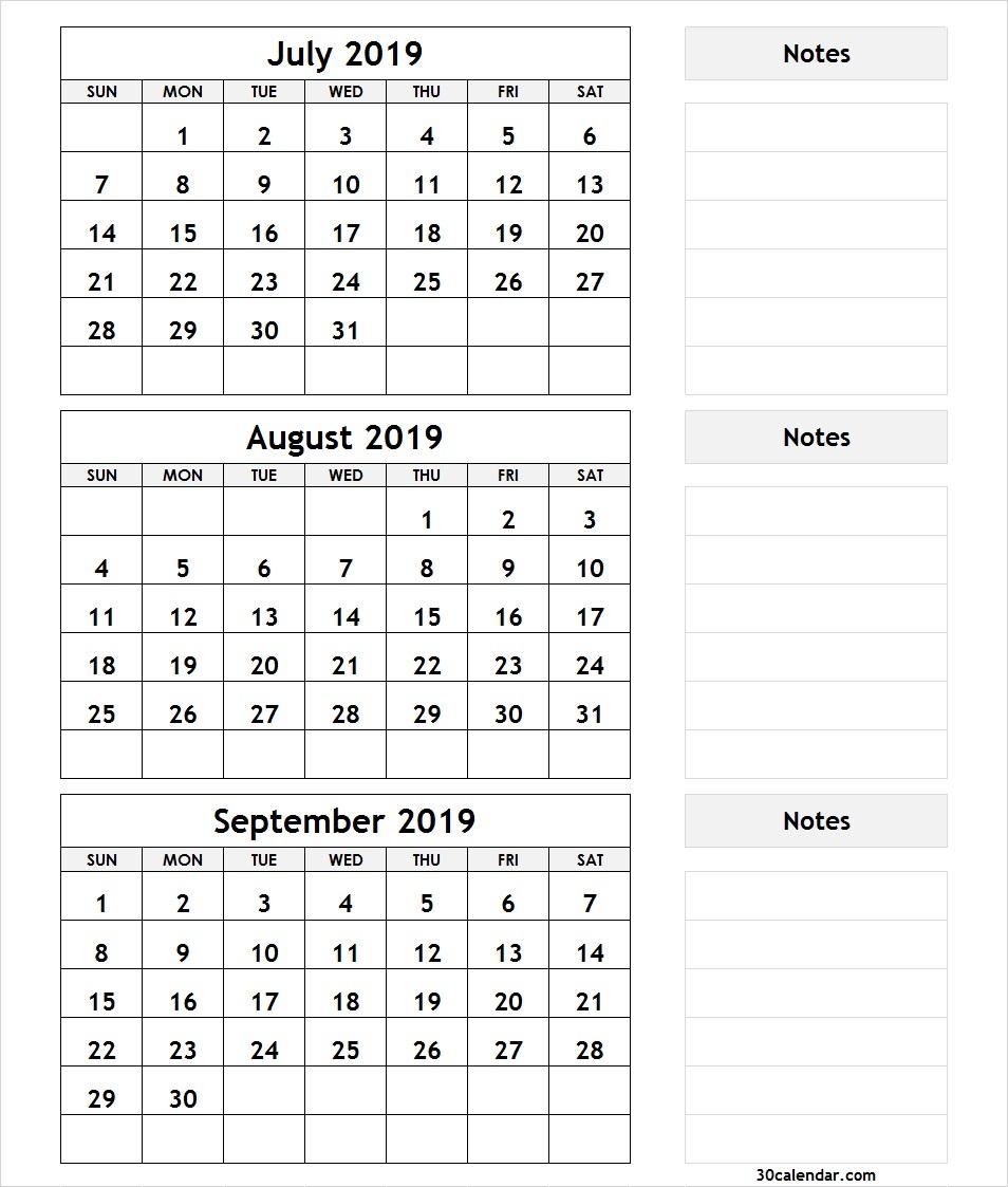 Printable 3 Month Calendar July August September 2018