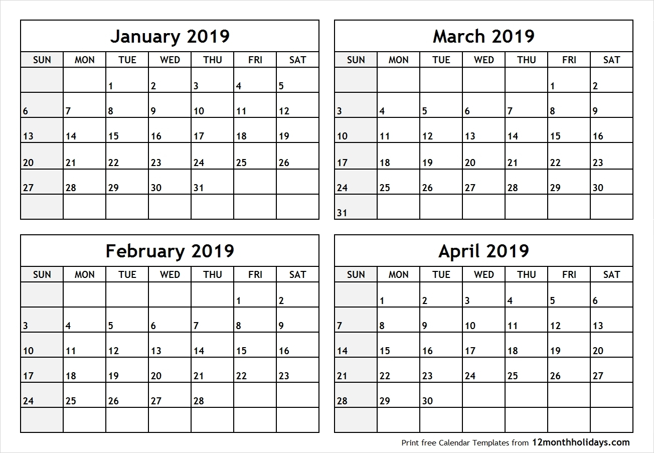 Printable 4 Month Calendar 2019 – Rama.ciceros.co-Printable