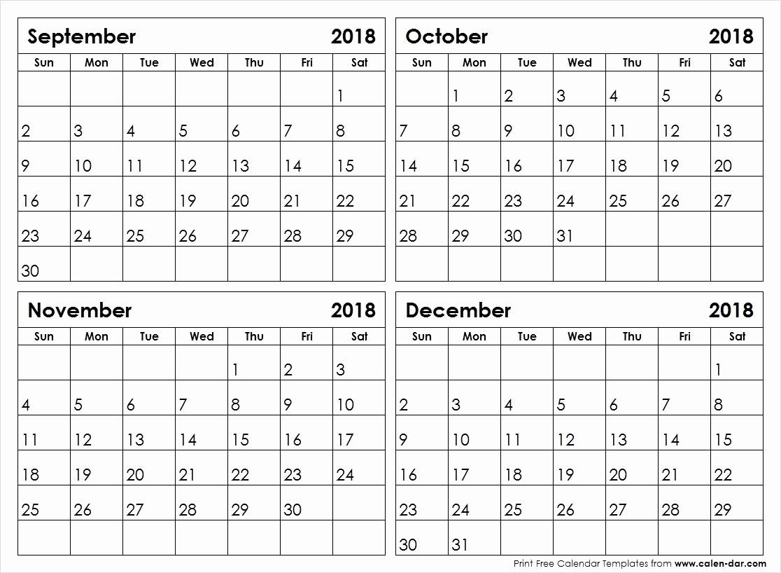 Printable 4 Month Calendar September To December 2018