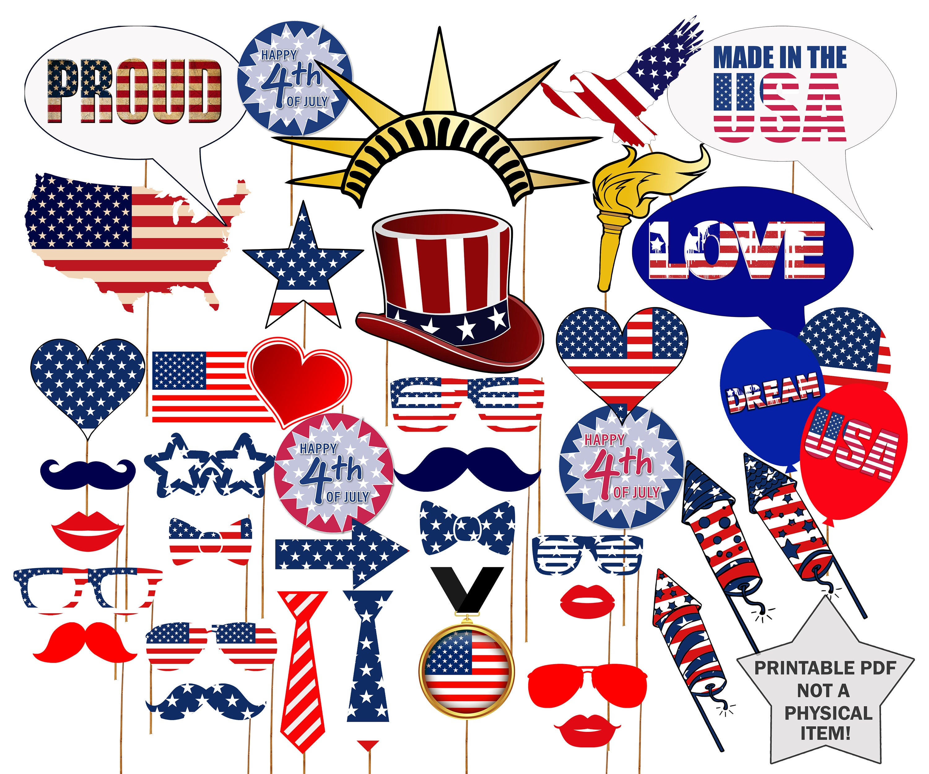 """Printable 4Th Of July Photo Booth Props: """"independence Day Props"""" 4Th Of  July Party, July 4Th Photobooth,patriotic Props,american Photobooth"""