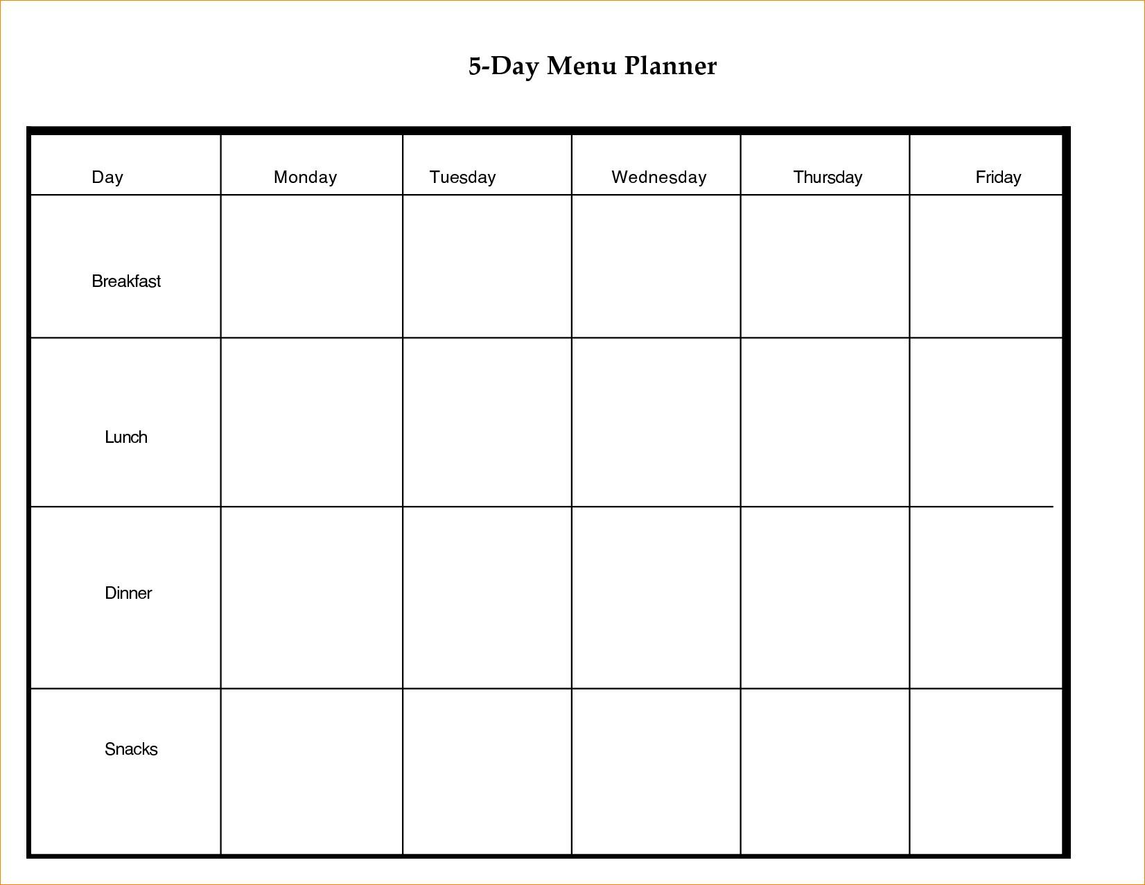 Printable 5 Day Calendar Blank Calendar Template 5 Day Week