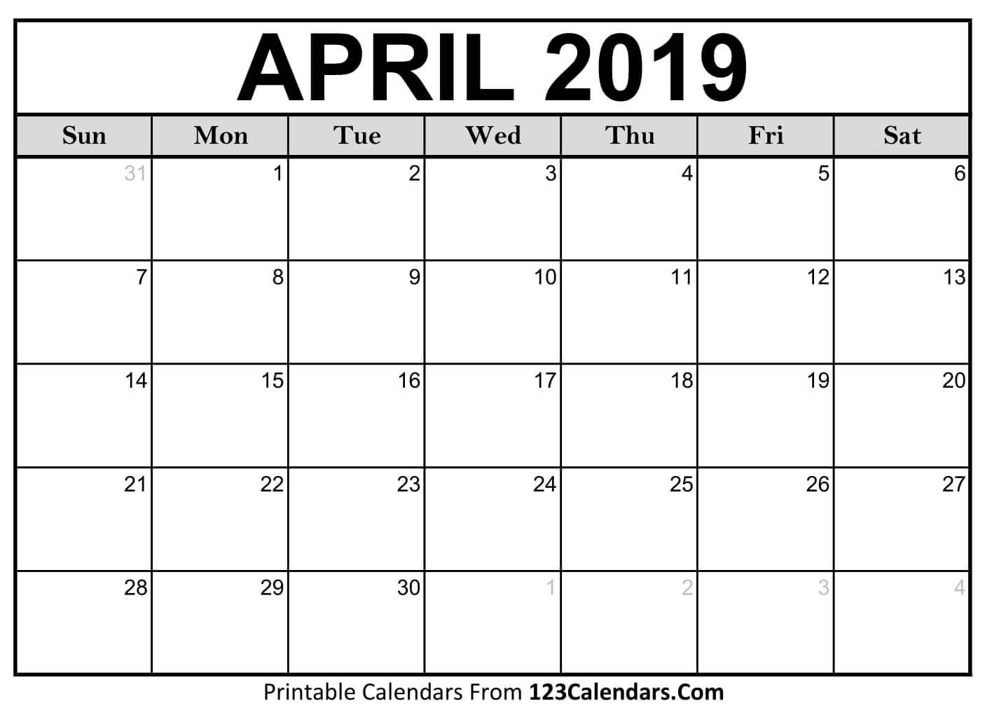 Printable April 2019 Calendar Templates - 123Calendars Free