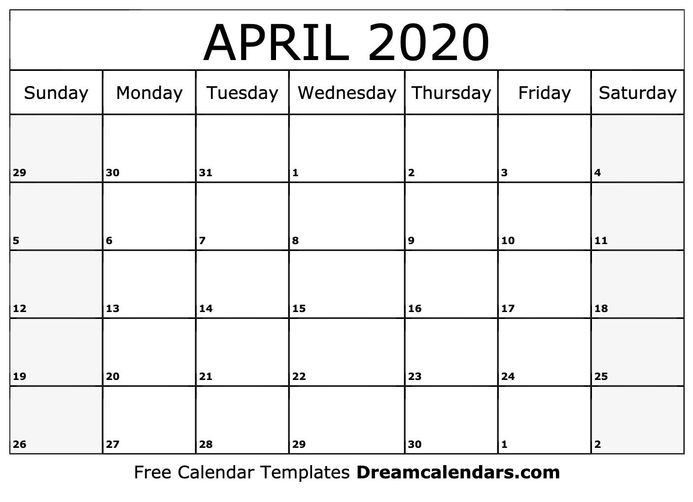 Printable April 2020 Calendar
