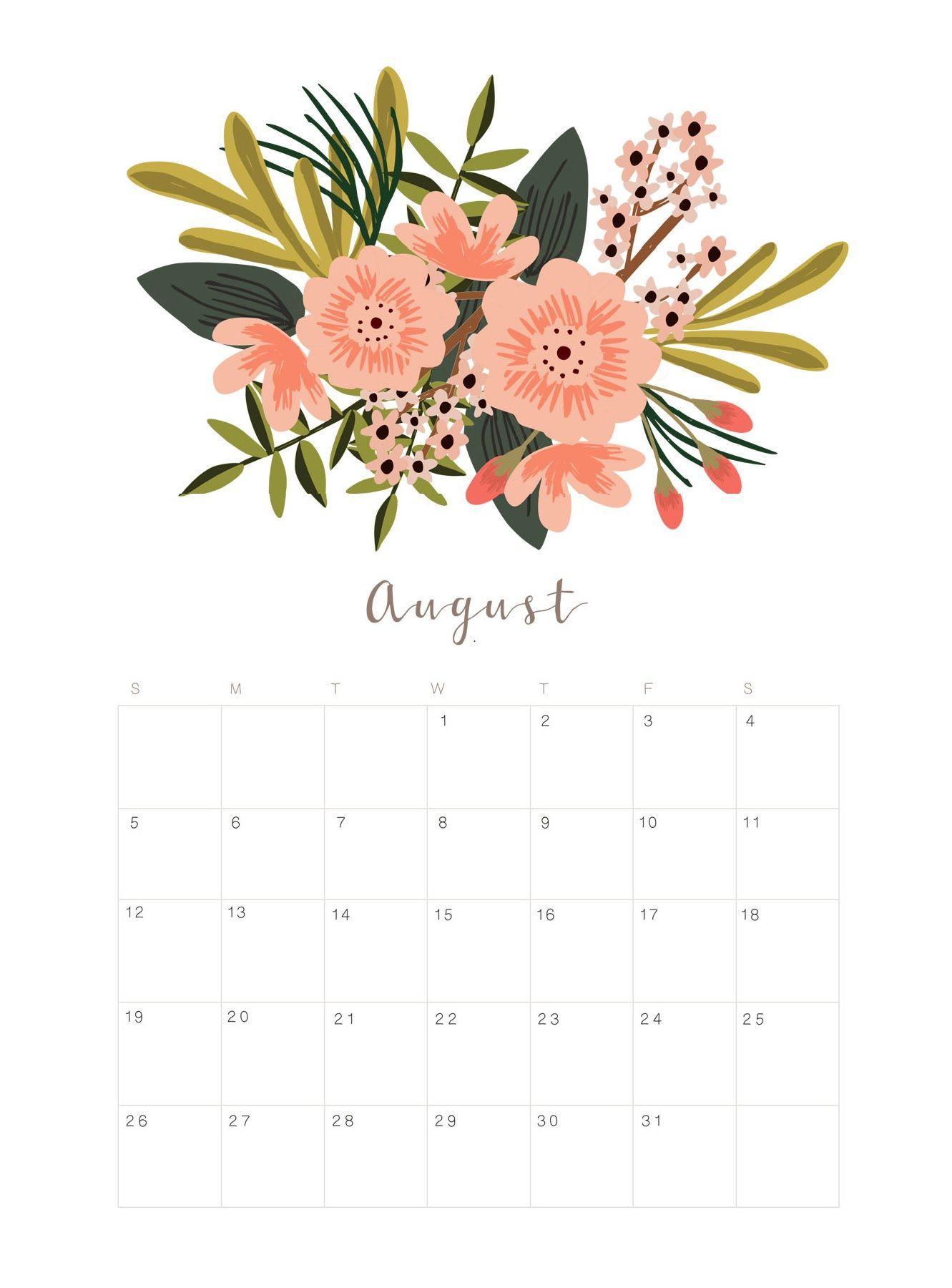 Printable August 2018 Floral Calendar   Calendar 2018