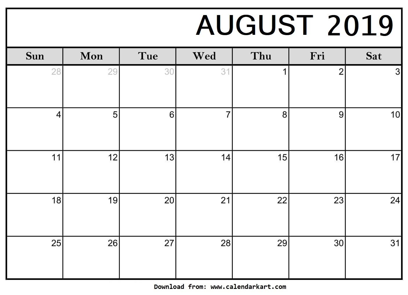 Printable August 2019 Calendar - Calendar-Kart