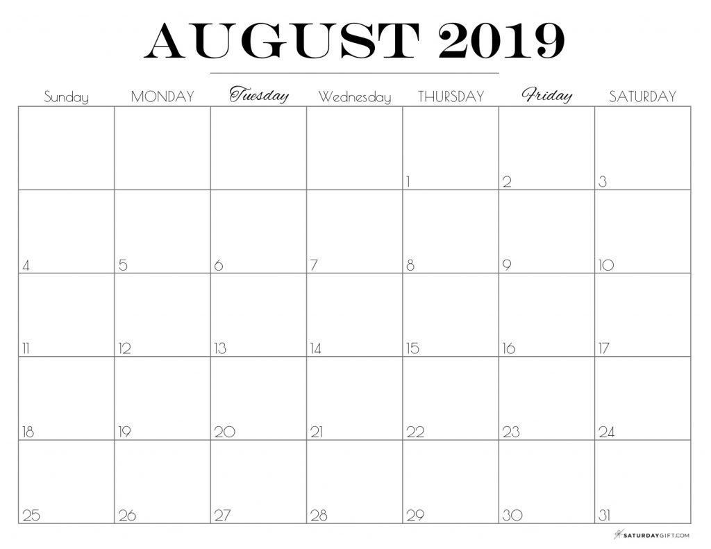 Printable August 2019 Calendar {Free & Pretty Printables}