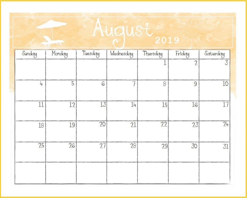 Printable August 2019 Desk Calendar | 月曆 | Monthly