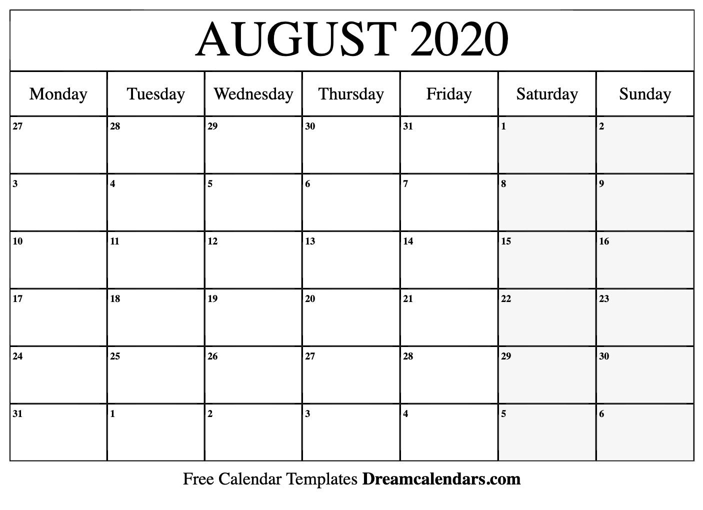 Printable August 2020 Calendar
