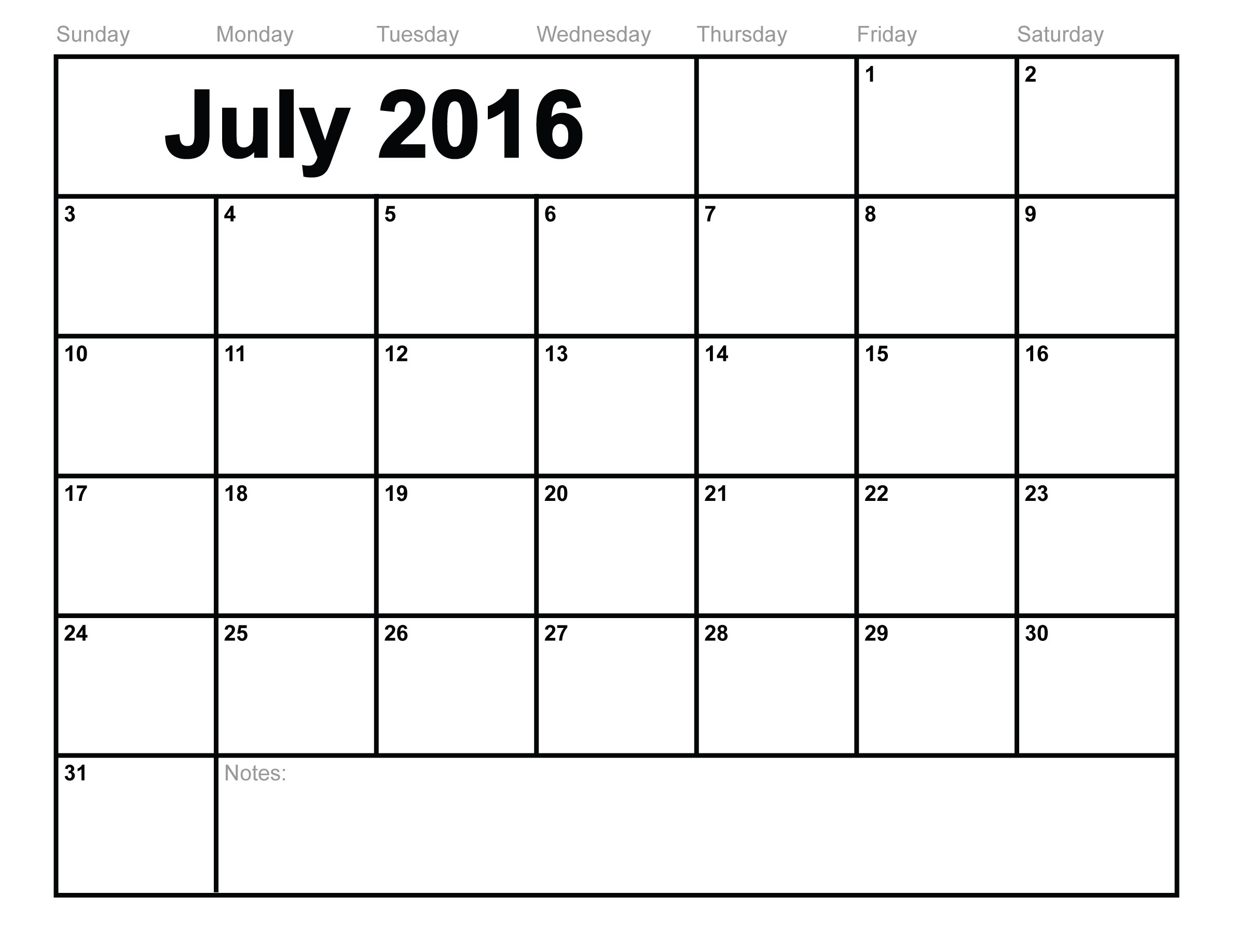 Printable Blank 2016 Calendar | Hauck Mansion