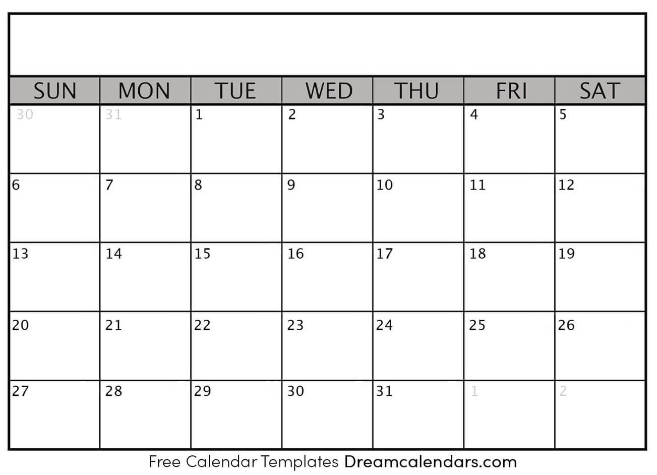 Printable Blank Calendar - Dream Calendars