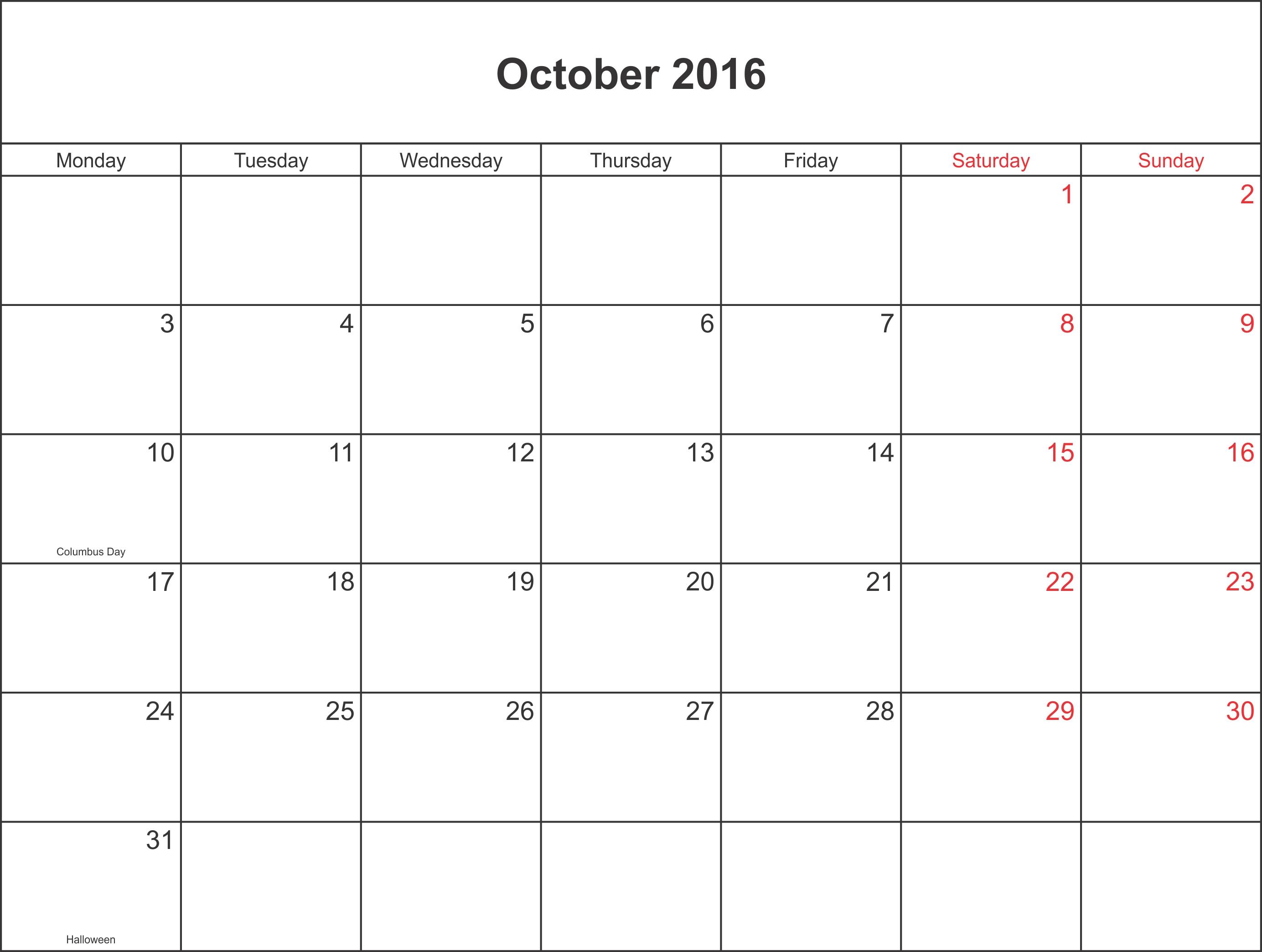 Printable Blank Calendar With Holidays - Calendar