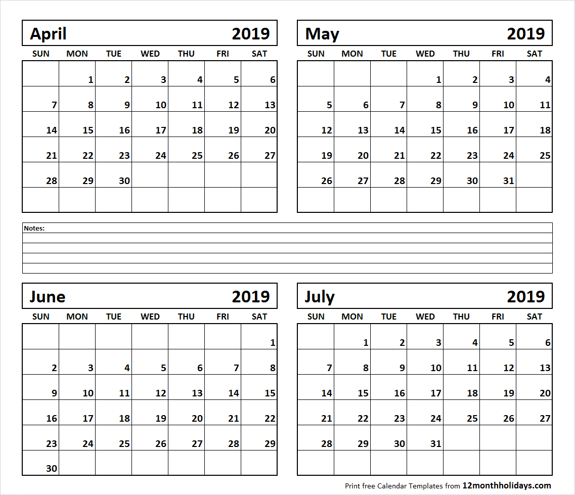 Printable Blank Four Month April May June July 2019 Calendar