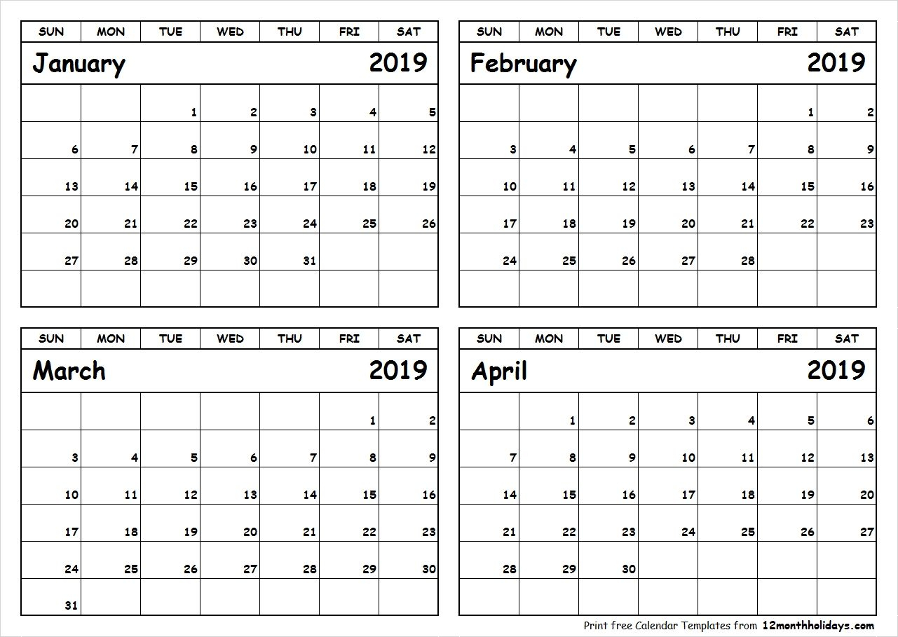 Printable Blank Four Month January February March April 2019
