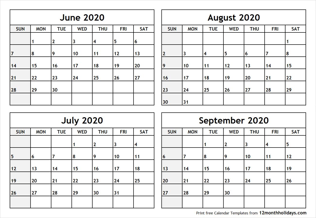 Printable Blank Four Month June July August September 2020