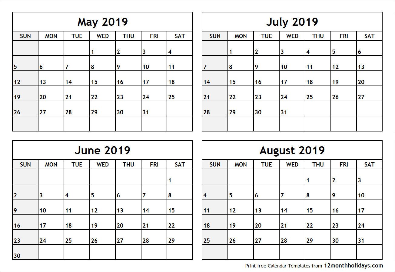 Printable Blank Four Month May June July August 2019