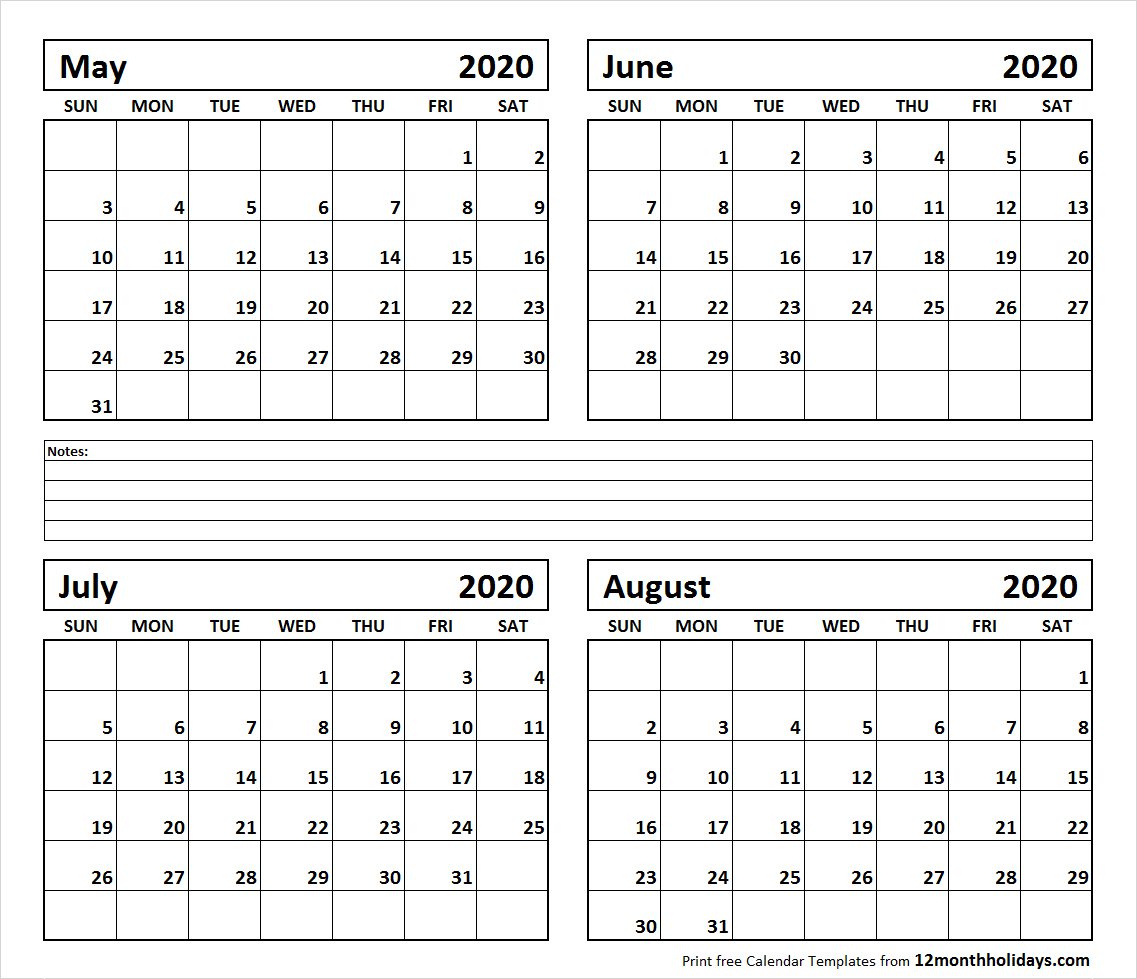 Printable Blank Four Month May June July August 2020