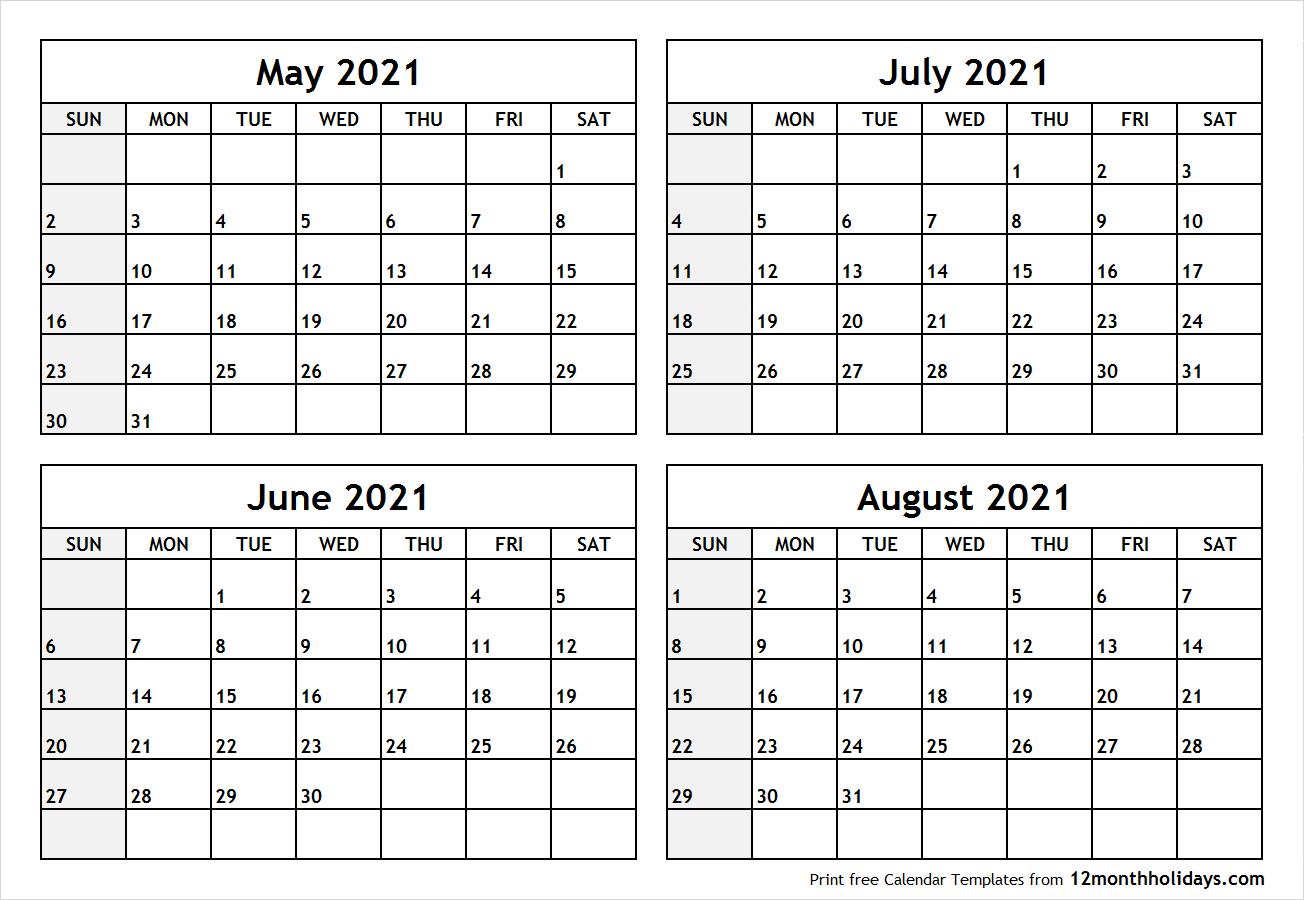 June July August Calendar Template | Example Calendar ...