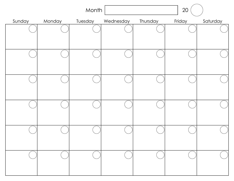 Printable Blank Monthly Calendar | Calendar Template