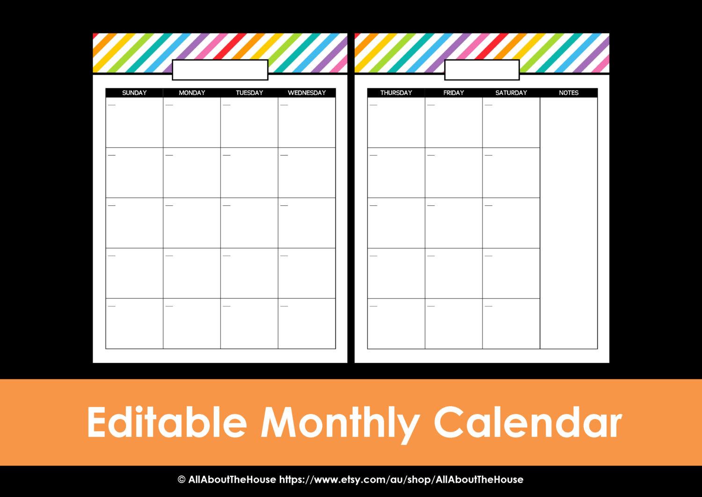 Printable Calendar 2 Page Monthly Calendar Printable Rainbow Perpetual  Editable Pdf Household Binder Planner 2016 2017 Daily Letter Organize