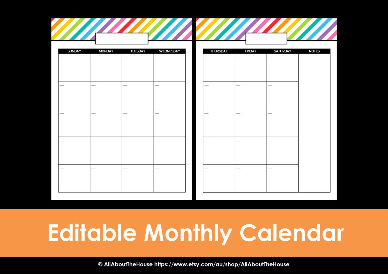 Printable Calendar 2 Page Monthly Calendar Printable Rainbow Perpetual  Editable Pdf Household Binder Planner 2016 2017 Daily Letter Organize