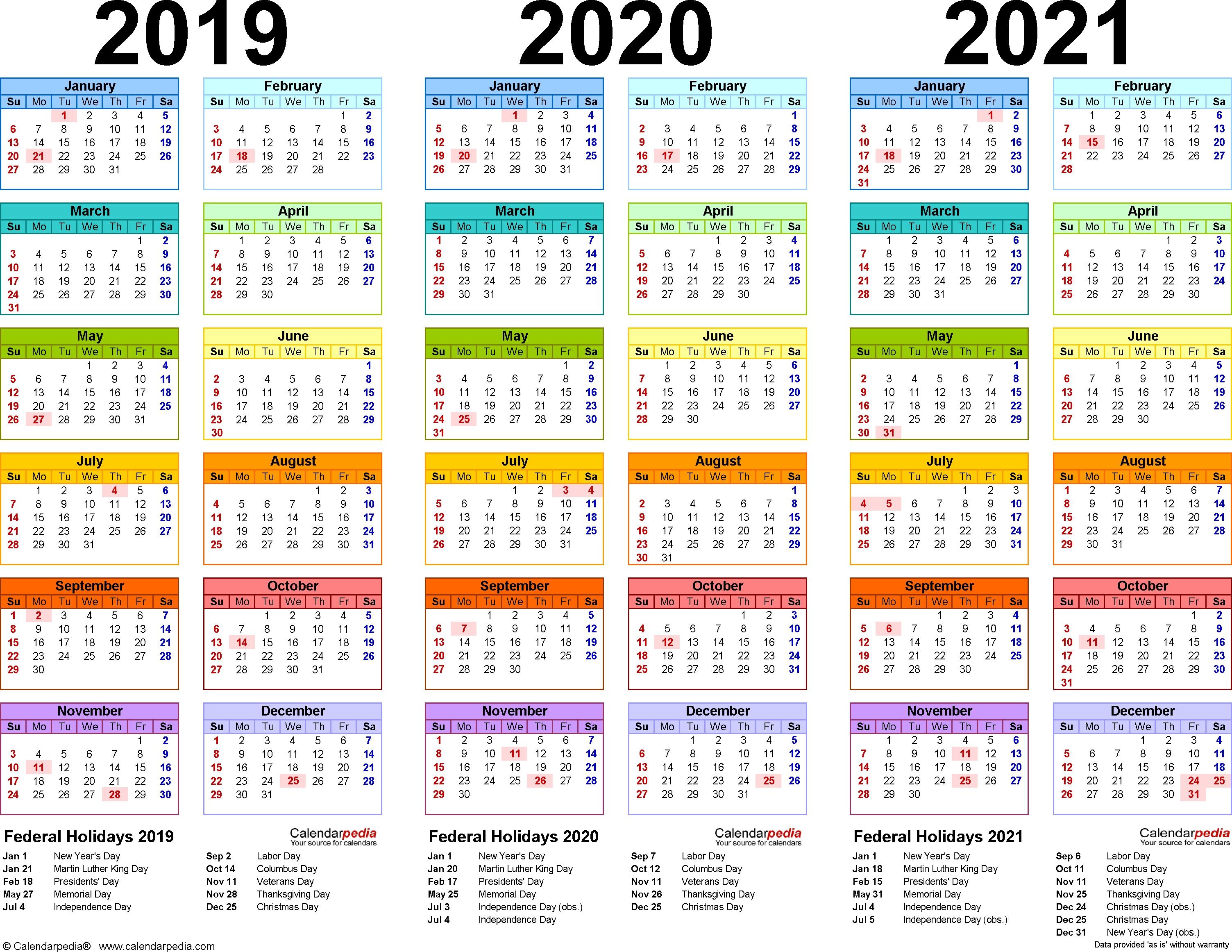 Printable Calendar 2018 2019 And 2020 – 3 Year Calendar