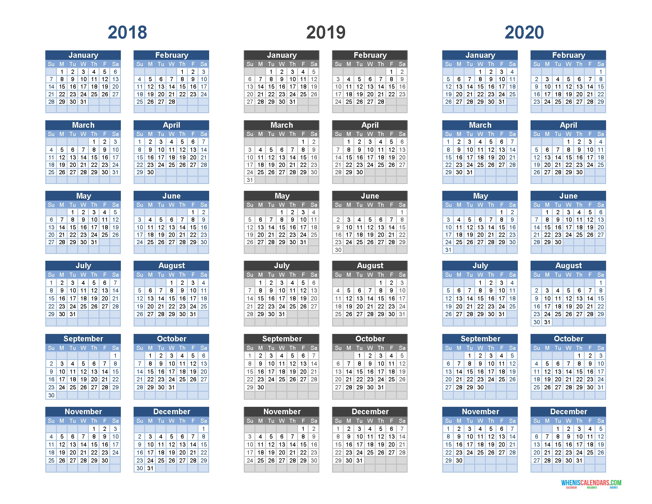 Printable Calendar 2018 2019 And 2020 – 3 Year Calendar