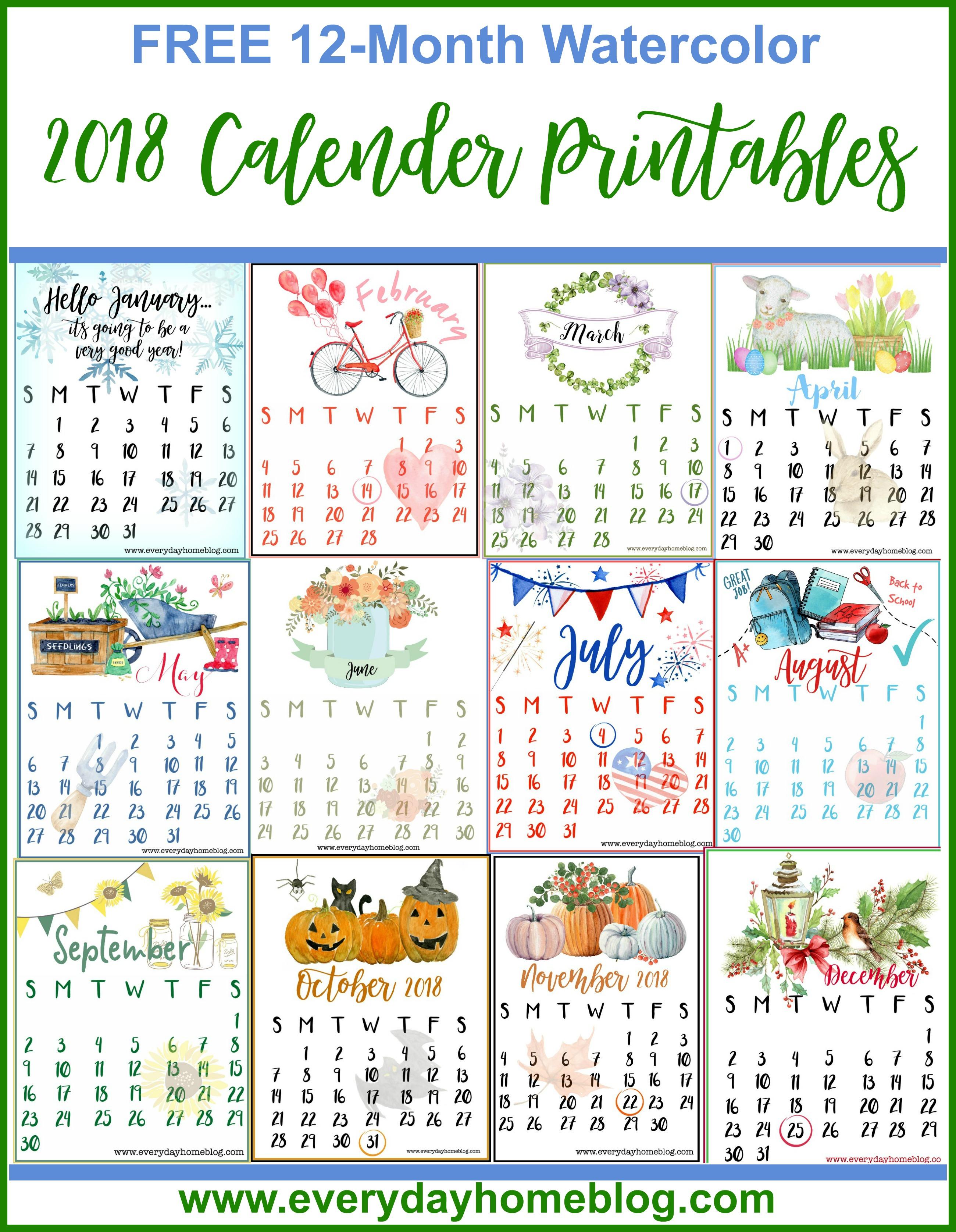 Printable Calendar 2018 All Months | Printable Calendar 2019