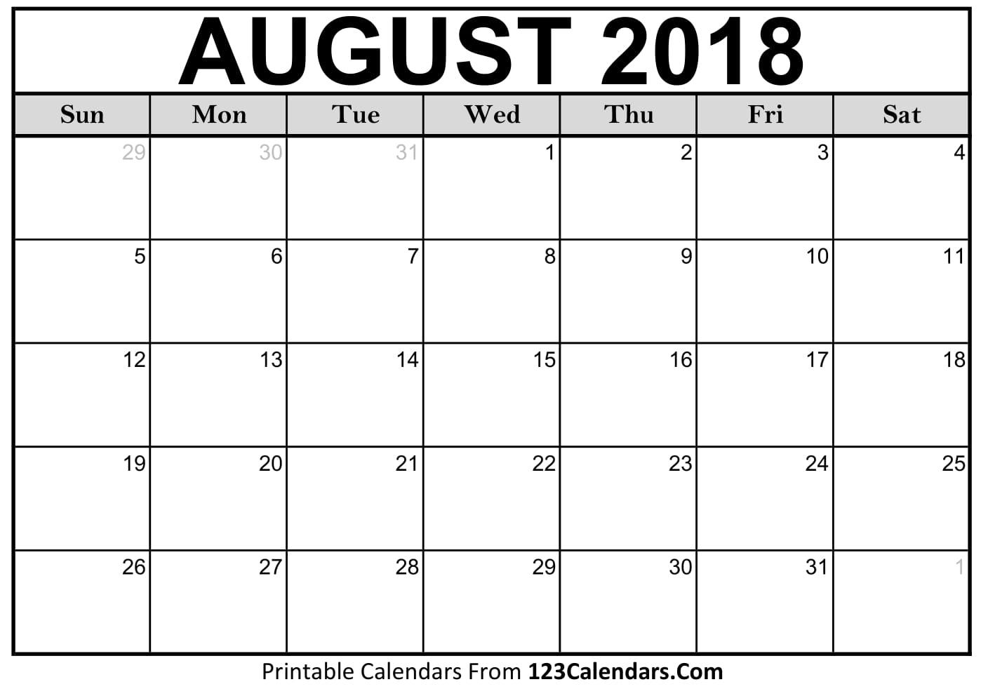 Printable Calendar 2018 For August | Printable Calendar 2019
