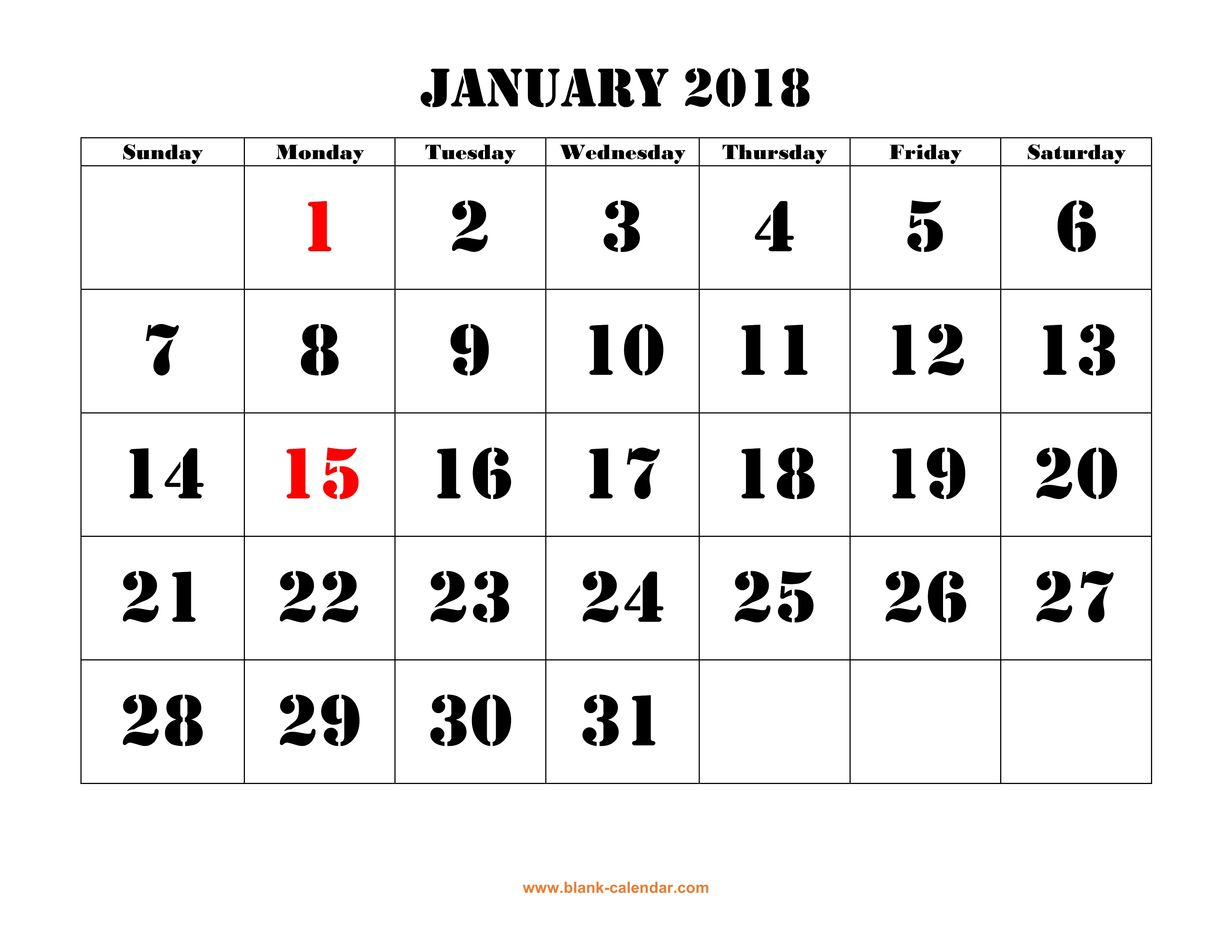 Printable Calendar 2018 | Free Download Yearly Calendar