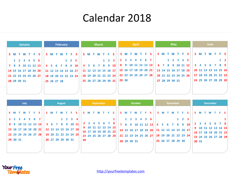 Printable Calendar 2018 - Free Powerpoint Templates