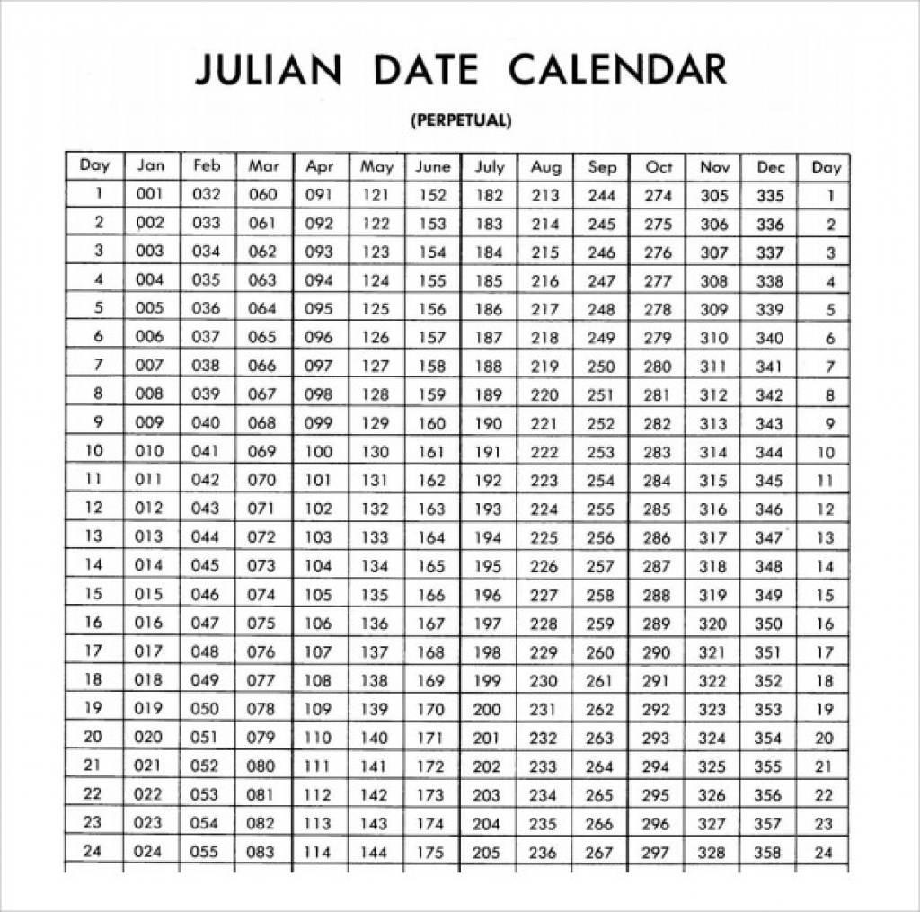 Printable Calendar 2018 Julian Dates | Printable Calendar 2019