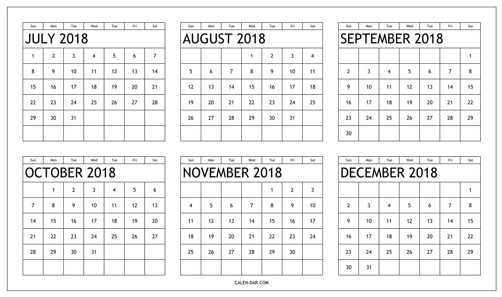 Printable Calendar 2018 July Through December | Printable