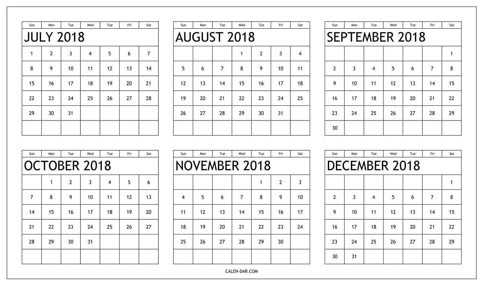 Printable Calendar 2018 July Through December | Printable
