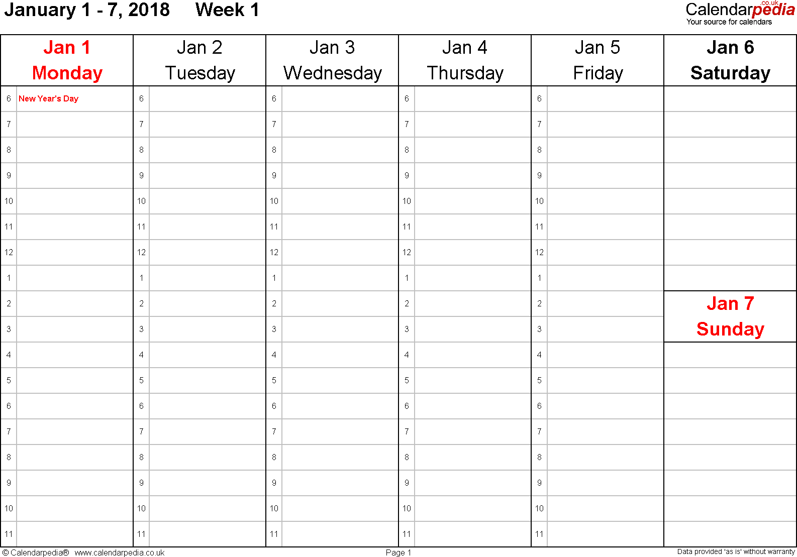 Printable Calendar 2018 No Weekends | Printable Calendar 2019