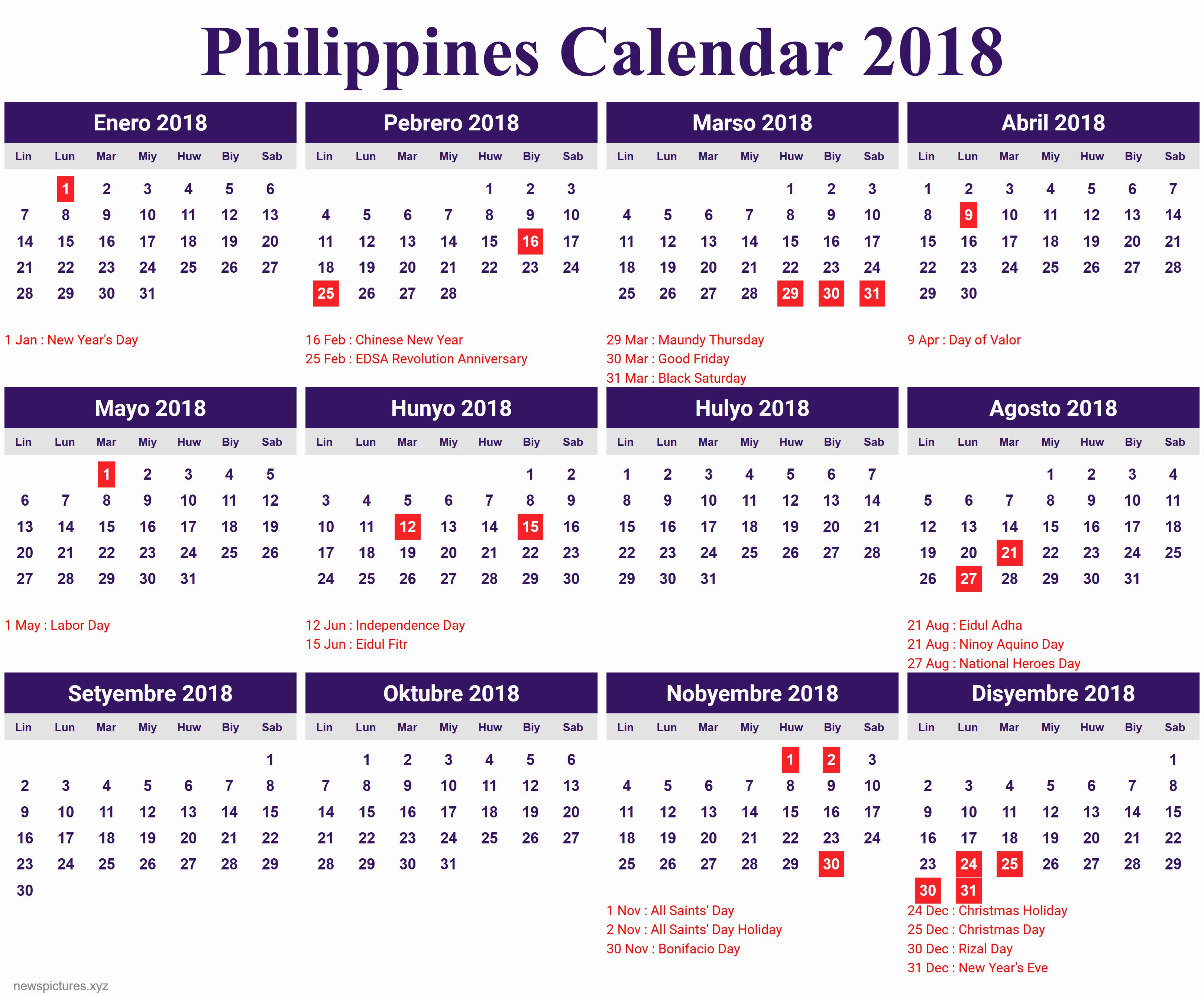 Printable Calendar 2018 Philippines | Printable Calendar 2019