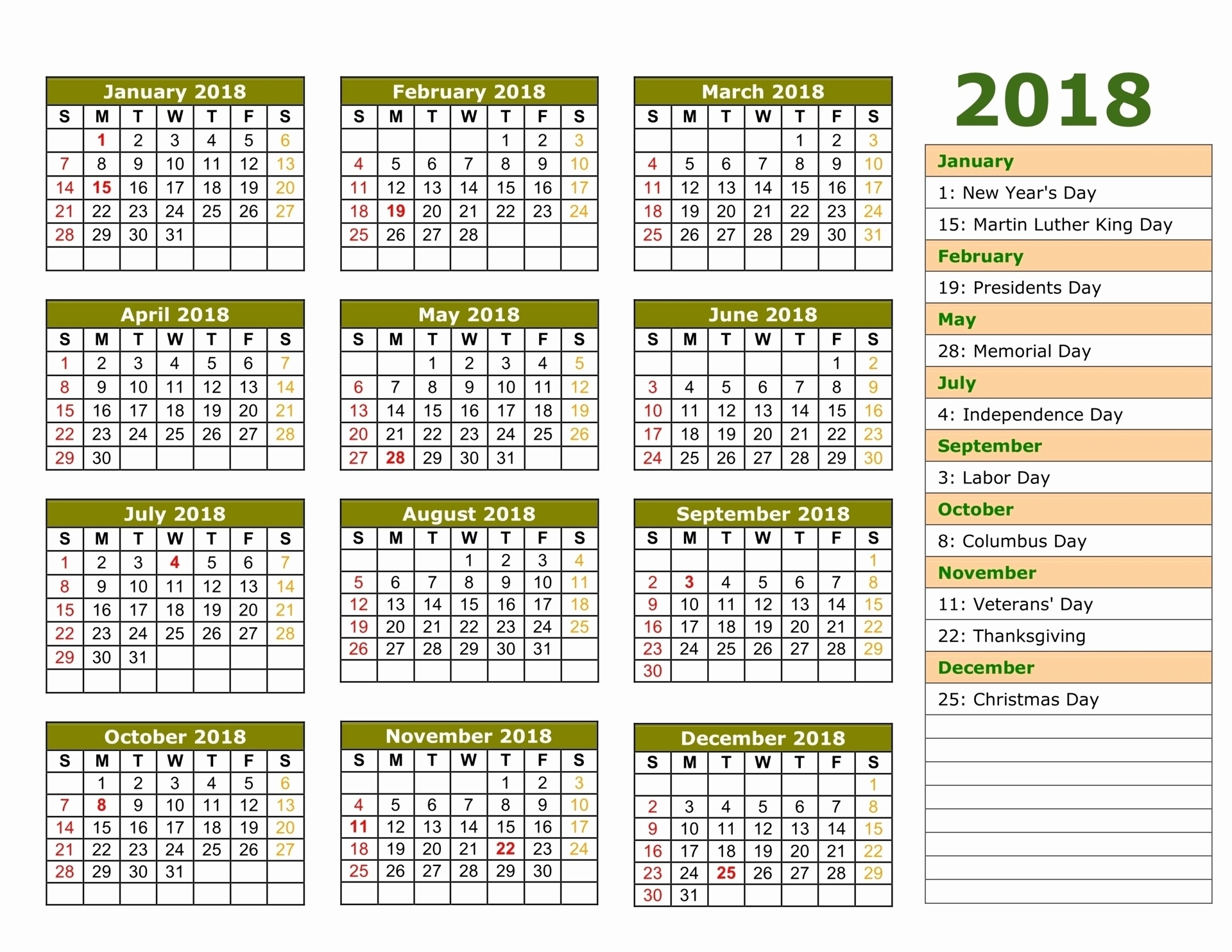 Printable Calendar 2018 Saudi Arabia | Printable Calendar 2019