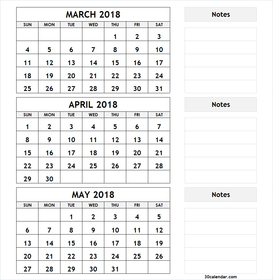 Printable Calendar 2018 Three Months Per Page | Printable