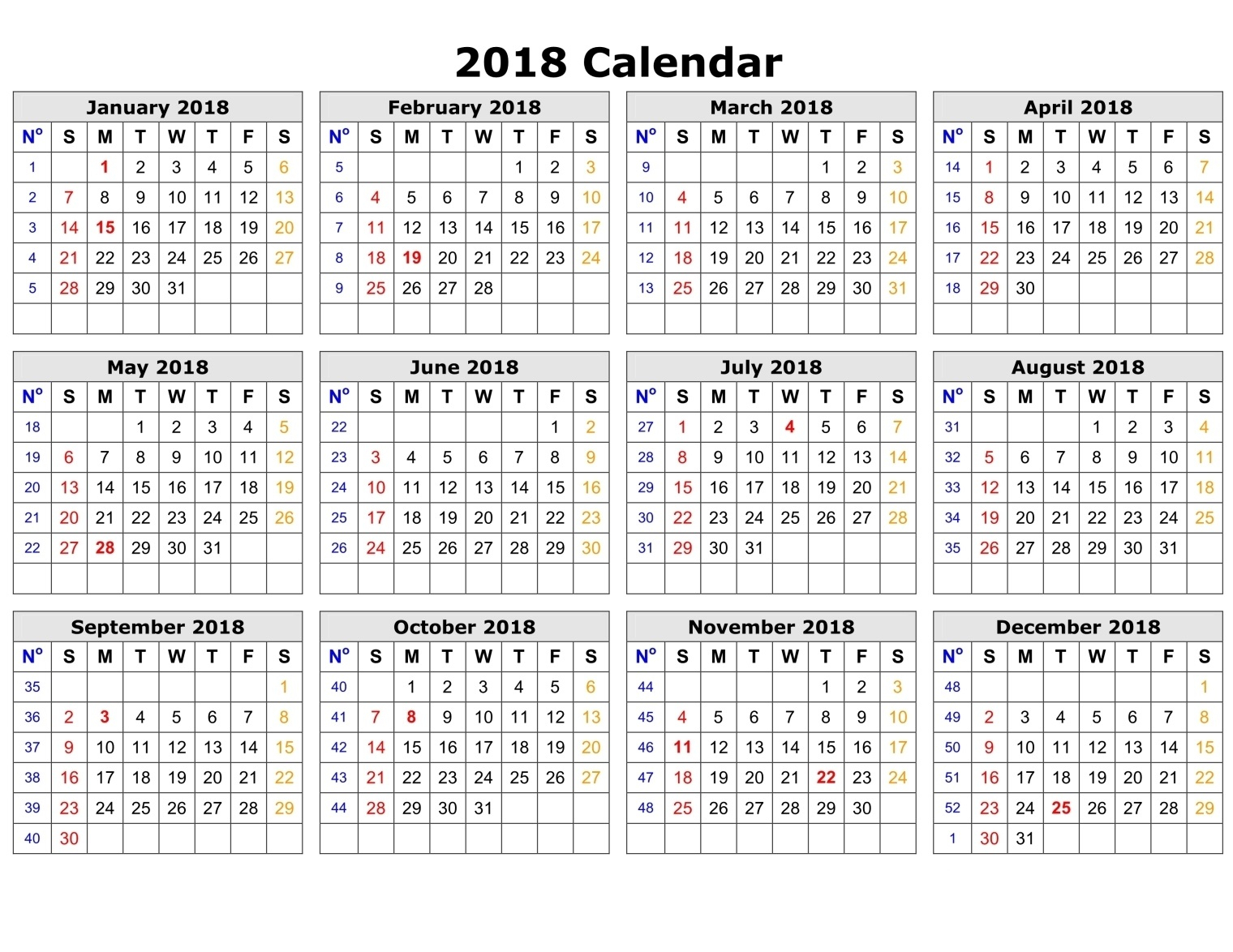 Printable Calendar 2018 Time And Date | Printable Calendar 2019