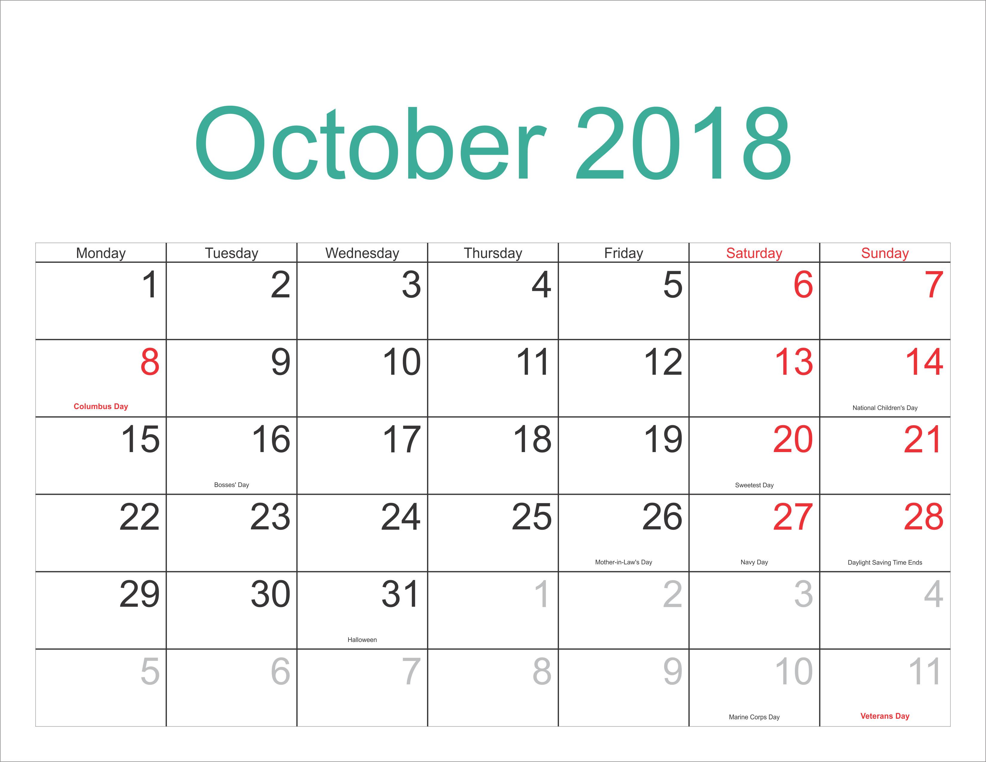 Printable Calendar 2018 Time And Date | Printable Calendar 2019