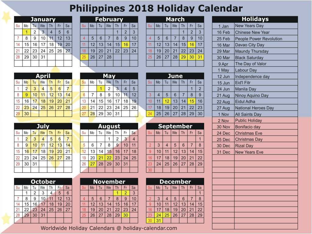 Printable Calendar 2018 With Holidays Philippines