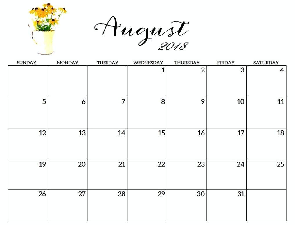 Printable Calendar 2018 With Large Boxes | Printable