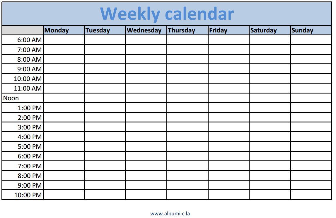 Printable Calendar 2018 With Time Slots | Printable Calendar