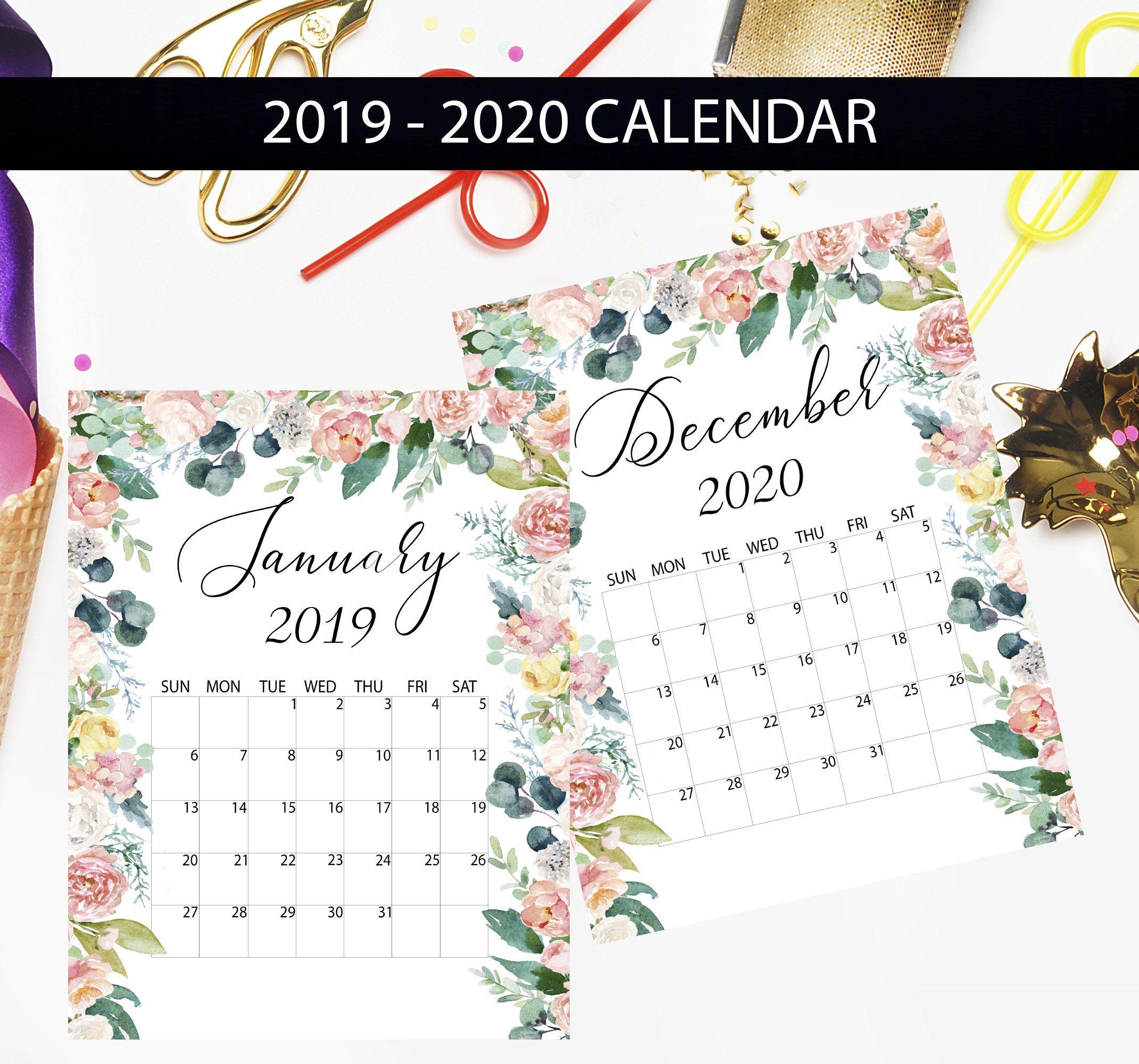 Printable Calendar 2019-2020, Monthly Calendar, Floral